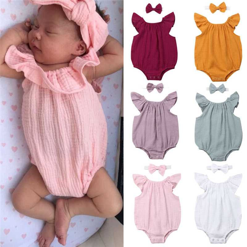 Newborn Bodysuit Baby Girls Clothes Sleeveless Jumpsuit Bodysuit Toddler Outfits New Born Clothing Headband Sunsuit Bodysuits