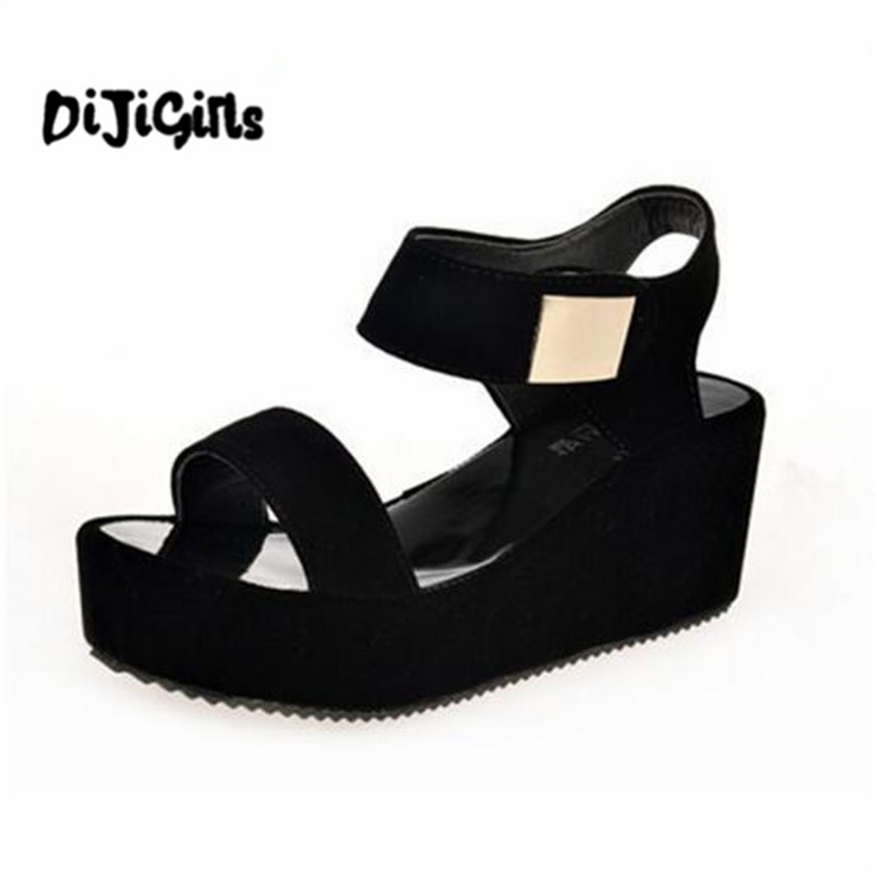 Free shipping 2018 summer woman sandals new style woman's shoes sajdals platform with high heel and wedge with a pair of sandals shofoo shoes 2017 new free shipping white spots and black cloth 13 5 cm wedge sandals women s sandals size 34 45