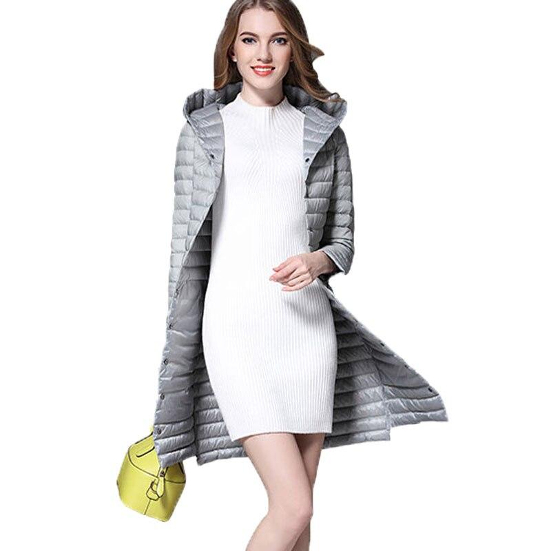 2017 New Winter Ultralight   Down     Coats   Women Parkas Slim Long Sleeve Hooded Solid Medium-long Lightweight   Down   Jackets Mujer