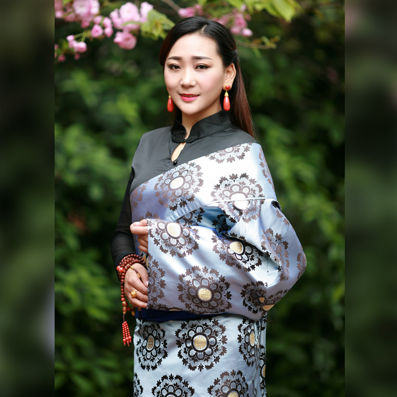 China National Clothes Robe Flower Tier Clothing Tibetan Female Dress Cangpao Mo Class Queen Single-layer New Tibet Costume