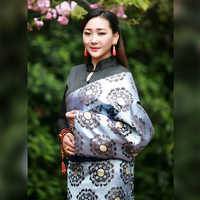 China National clothes robe flower tier clothing Tibetan female dress cangpao Mo class queen single layer New Tibet Costume