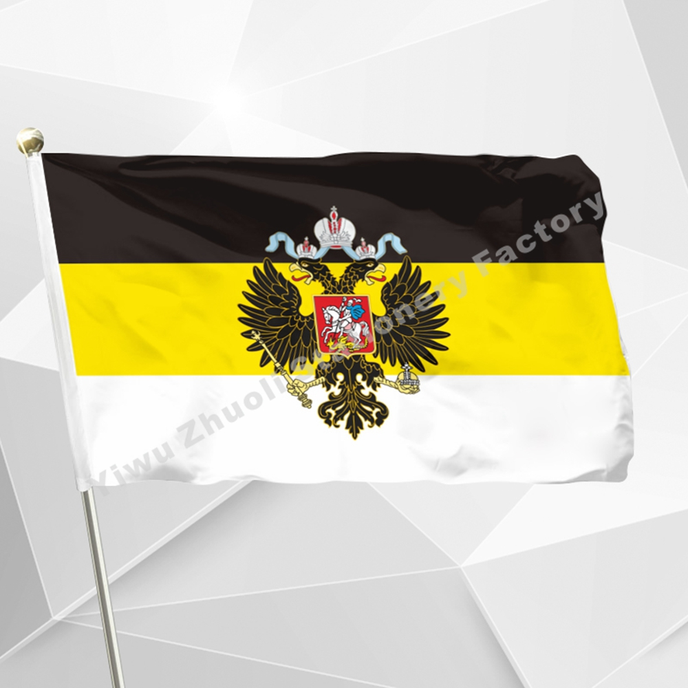 Rusland Imperial Empire Flag 150X90cm (3x5FT) 120g 100D Polyester Gratis forsendelse