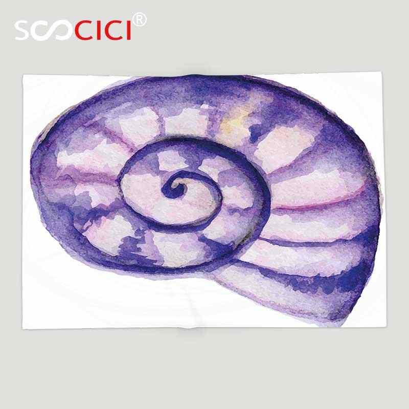 Benutzerdefinierte Weichen Fleece Decke Modernes Dekor Seeozean Meeres Navy Leben Kreatur Tier Shell in Aquarell Kunstwerk Lila