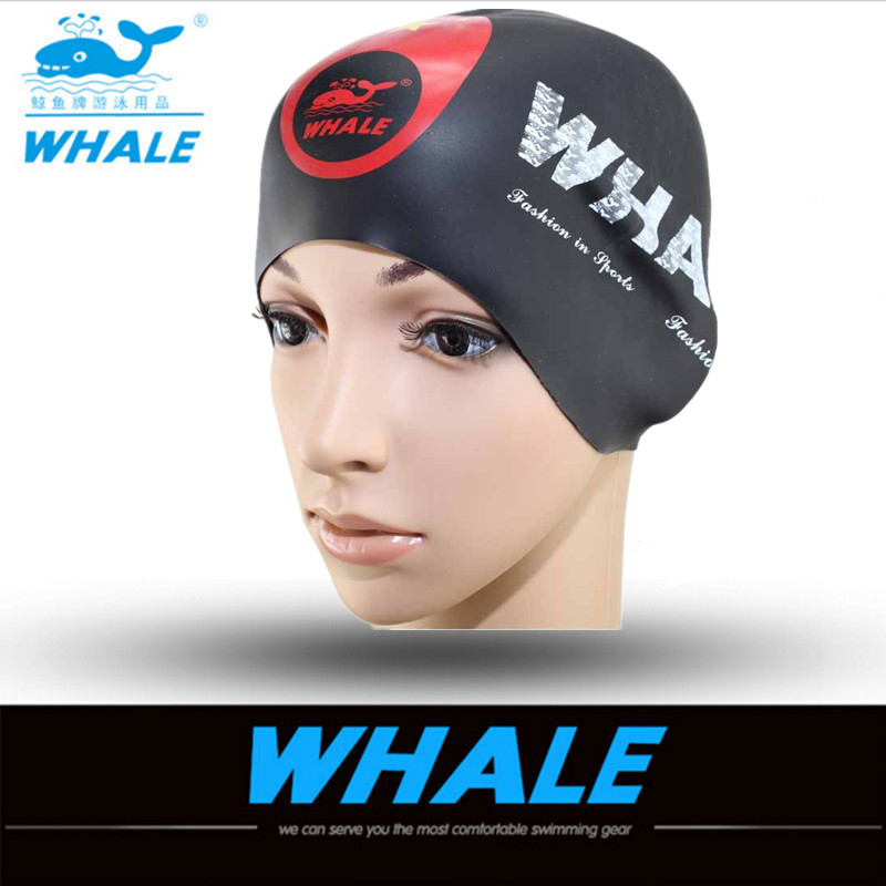 WHALE 3D Silicone Unisex Long Hair Swim Cap Waterproof Swimming Caps for Men Women Swimming Hat Cover Ear Bone Pool 2017