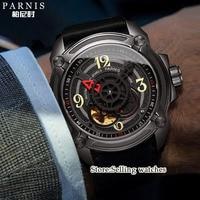 44 мм Парнис Скелет автоматические механические часы Для мужчин часы Скелет наручные часы сапфировое стекло Кожа 5ATM Miyota 82S5