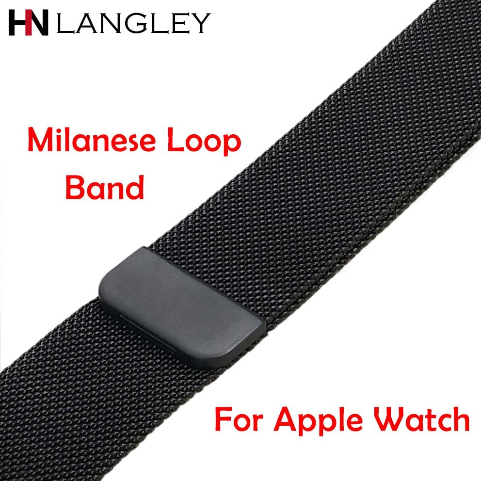 Ссылка браслет Нержавеющаясталь Milanese Loop Band для Apple Watch полосы 42 мм 38 мм ремешок для iwatch серии 1 2 3 розы золотистый и черный