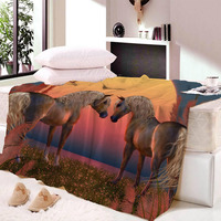 Anime Horse Print Throw Blanket on The Bed Romantic Letters Sherpa Fleece Blanket Heart Plush Dropship