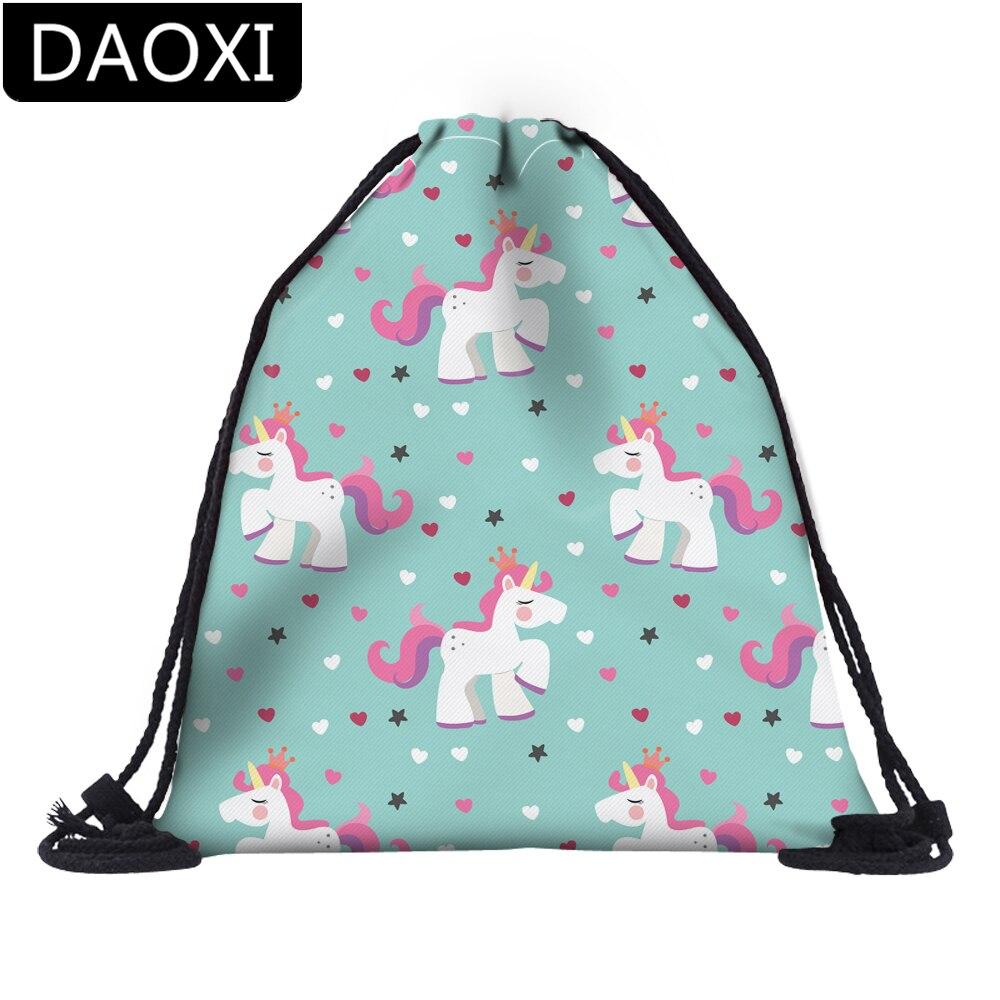 DAOXI 3D Printing Star Heart Little Cute Crown Unicorn Drawstring Bags For Travel School Girls Storage  DX60107