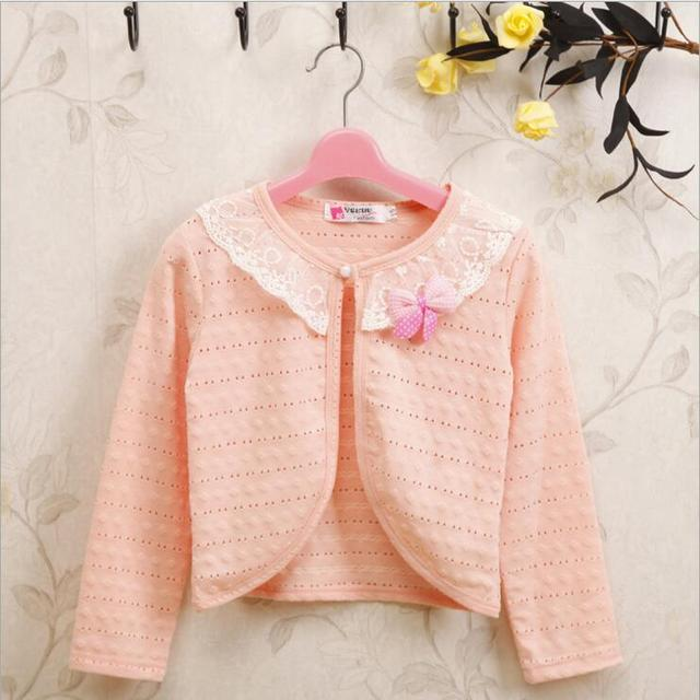 859a9e7cc 1 9Y Thin Full Sleeve White Girls Cardigans Lace Kids Knitted ...