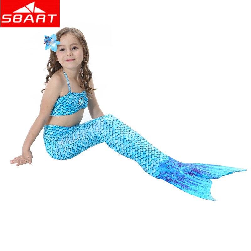SBART Girls Mermaid Bikinis Set Swimwear Milk Silk Mermaid Tail+Bra+Underwear 3 in 1 Bikini set Imitation Fish Mermaid Tail Suit sbart upf50 rashguard 2 bodyboard 1006