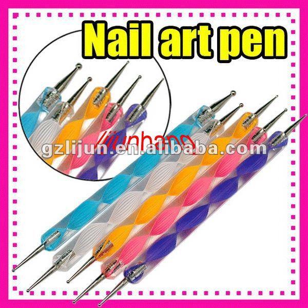 200sets 5 Pcs Nail Art Dotting Pen Colorful Dotting Tools Two Way
