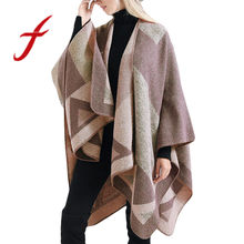 Feitong Winter Women Blanket Artificial Cashmere Oversized Tartan Coat Wrap Geometry Cozy Shawl Cardigans Sweater 2019 Fashion(China)