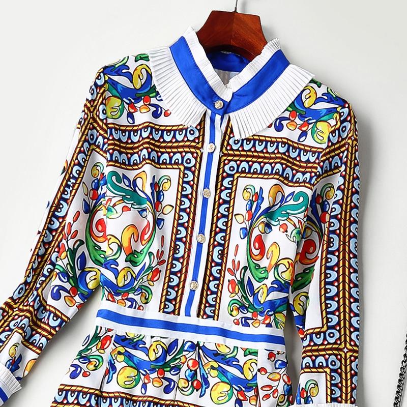 Nouveau Robe De Haut Col Mesure Sur Printemps Gamme Imprimée SHwxrfqS5