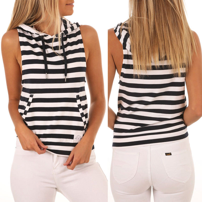 New Women Sleeveless Hoodie Casual Loose Hooded Vest Pullover Top Striped Tank Top Women Clothing