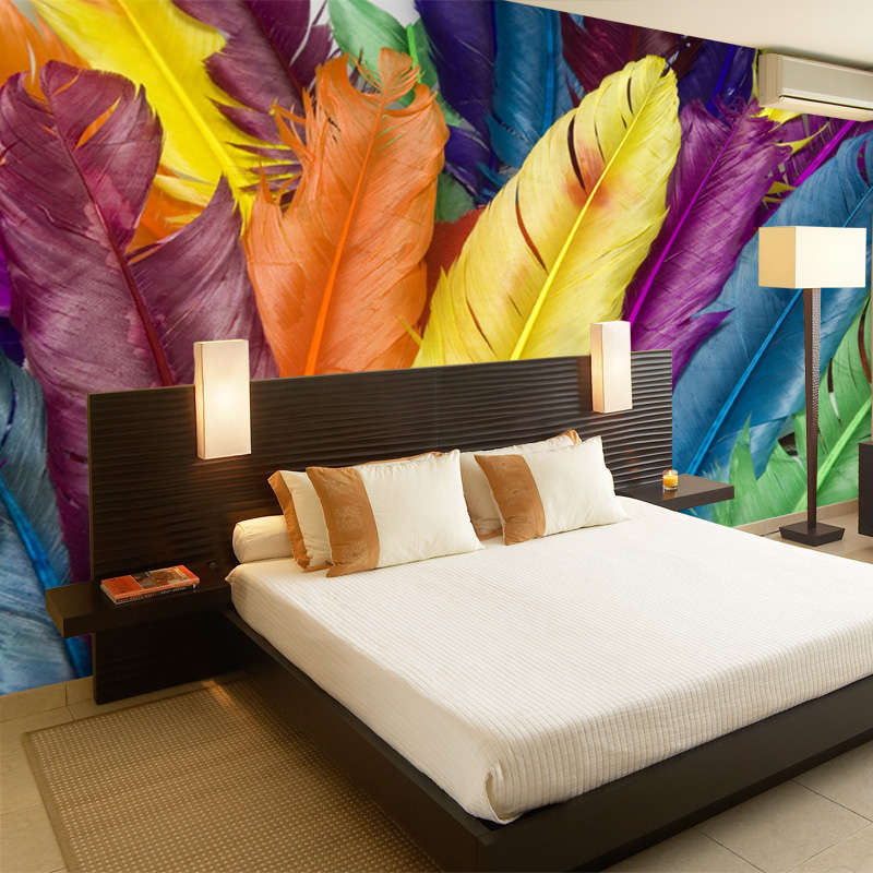 beibehang Customized Mural Wallpaper Modern Colourful Feathers 3D Print Wall Posters Art Mural Painting Decals Home Decor Photo beibehang modern luxury circle design wallpaper 3d stereoscopic mural wallpapers non woven home decor wallpapers flocking wa