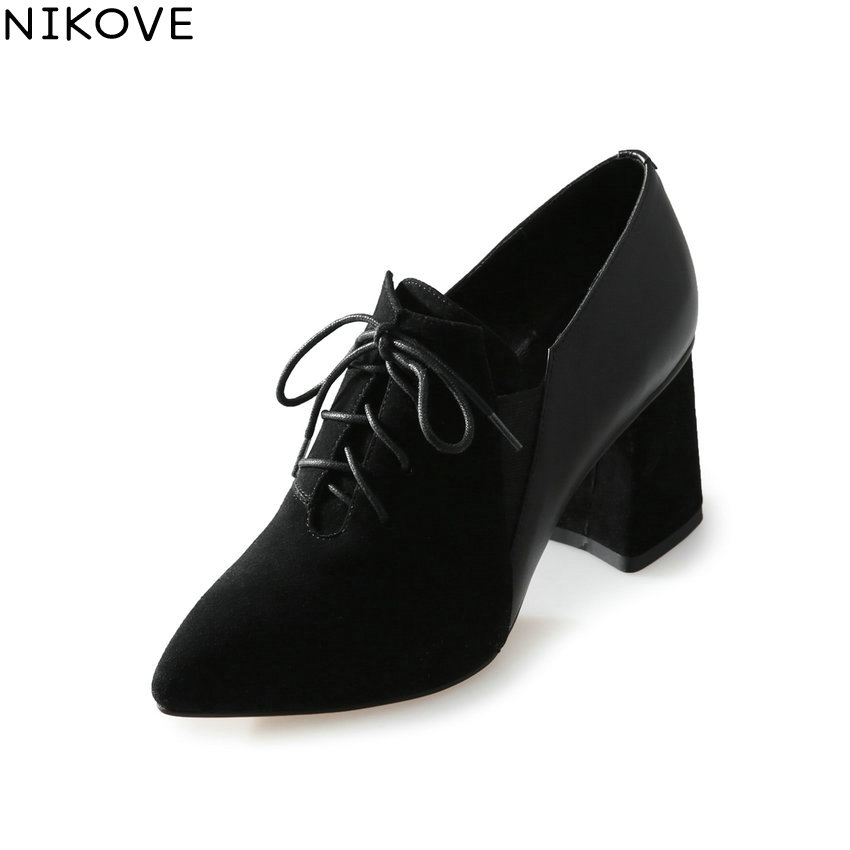 NIKOVE 2018 Women Pumps Shoes Lace Up Square High Heels Spring and Autumn Pointed Toe Pumps Western Style Women Shoes Size 34-39 xiaying smile woman pumps shoes women spring autumn wedges heels british style classics round toe lace up thick sole women shoes