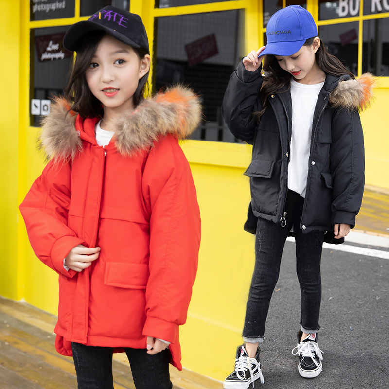 FYH Girls Cotton-padded Clothes Kids Winter Coat Solid Color Children Warm Thick Outerwear Fashion Girls Down Jackets Fur Hooded fyh winter kids clothing boys jackets fur collar kids warm parka children s thick outerwear coat kids down jacket cotton padded