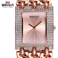 WEIQIN Luxury Crystal Diamond Gold Bracelet Watches Women Ladies Fashion Bangle Dress Watch Woman Clock Hour