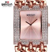 WEIQIN Luxury Crystal Diamond Gold Bracelet Watches Women Ladies Fashion Bangle Dress Watch Woman Clock Hour