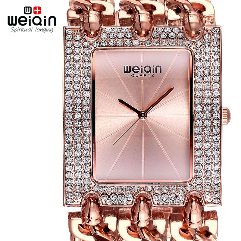 WEIQIN Luxury Crystal Diamond Guld Armband Klockor Kvinnor Dam Fashion Bangle Dress Klocka Klocka Klocka Time Relogio Feminino
