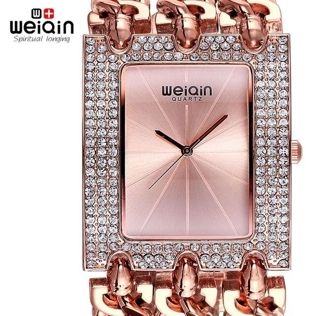 08cda4da656 WEIQIN Pulseira Relógios Das Mulheres Das Senhoras de Moda Pulseira De Ouro  com Diamantes de Cristal