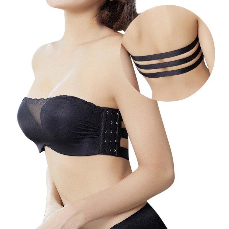Non slip Wireless Invisible Bras for Women Lace Top Sexy Backless Padded Bra Brasier Mujer Push Up Bra Black Bralette in Bras from Underwear Sleepwears