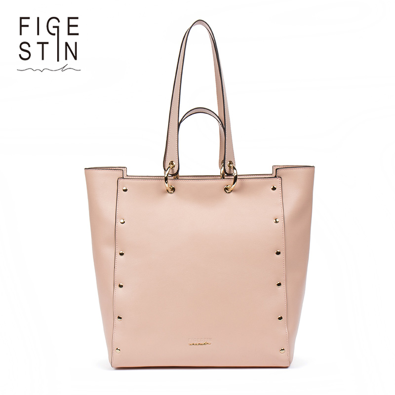 FIGESTIN Rivet Top-handle Bags Female Split Leather Shoulder Bags Luxury Brand Handbags Women Designer Zipper Casual Tote Bag figestin mini top handle handbags for women fashion split leather green cover shoulder bags small totes crossbody hand bag new