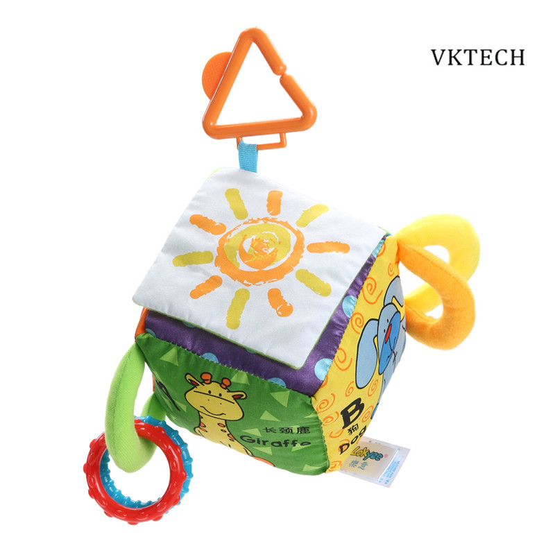 Baby Kids Toys Cartoon Animal Cube Book Plush Ball Teether Toys Cubes for Children Newborns Baby Soft Mobile Rattles