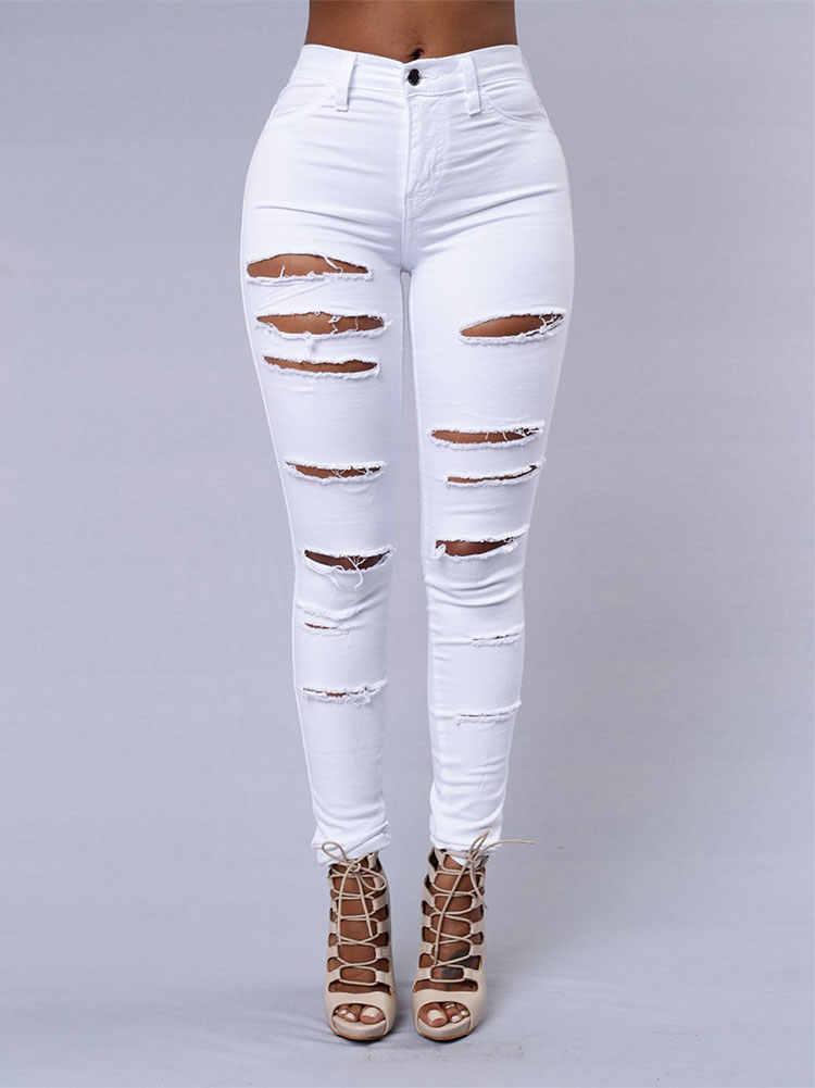 Для женщин Высокая талия узкие джинсы брюки черный, белый цвет женские Пуш-ап джинсы Mujer уличная мода, рваные джинсы с дырами джинсы Для женщин