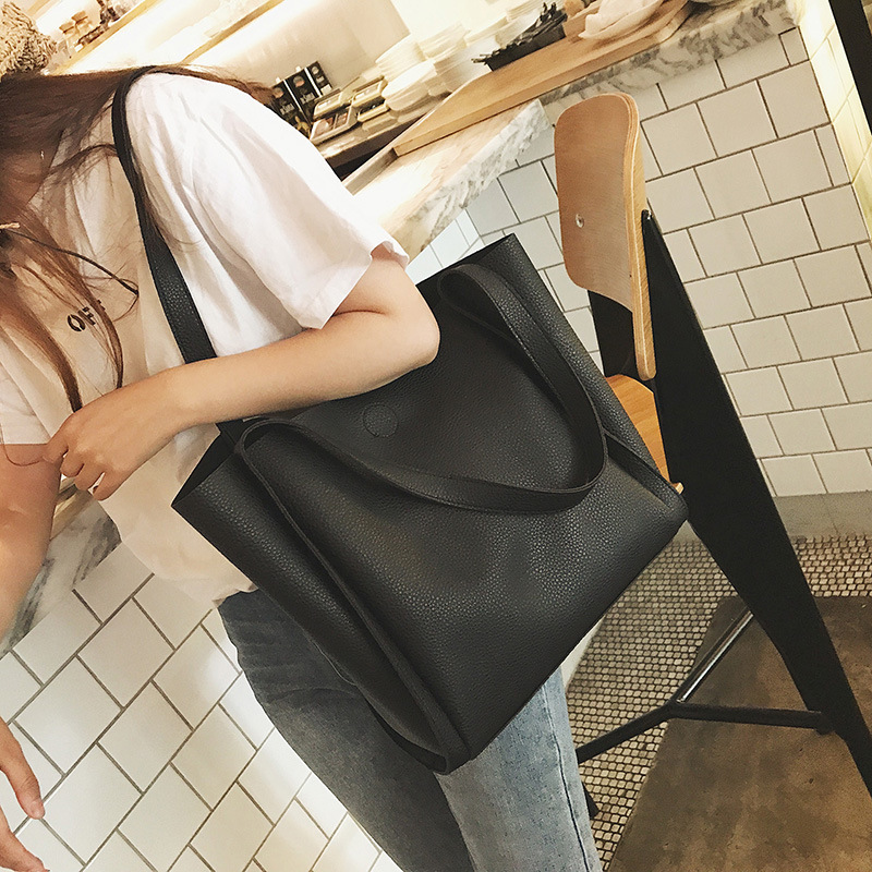 Light PU Leather Women Handbags Female Simple Soft Tote Bag Large Capacity Shoulder Bags Black Red Ladies Casual Shopping Bags 2018 luxry brand women leather handbags lady large tote bag female shoulder bags bolsas femininas sac black red cross velvet