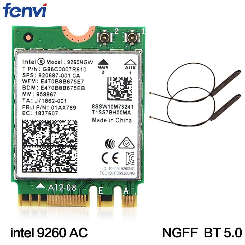 Dual Band Wireless-AC 9260 For Intel 9260NGW NGFF 802.11ac MU-MIMO 1730Mbps 1.73Gbps WiFi + Bluetooth 5.0 Card Fit Windows 10 refletor fq led