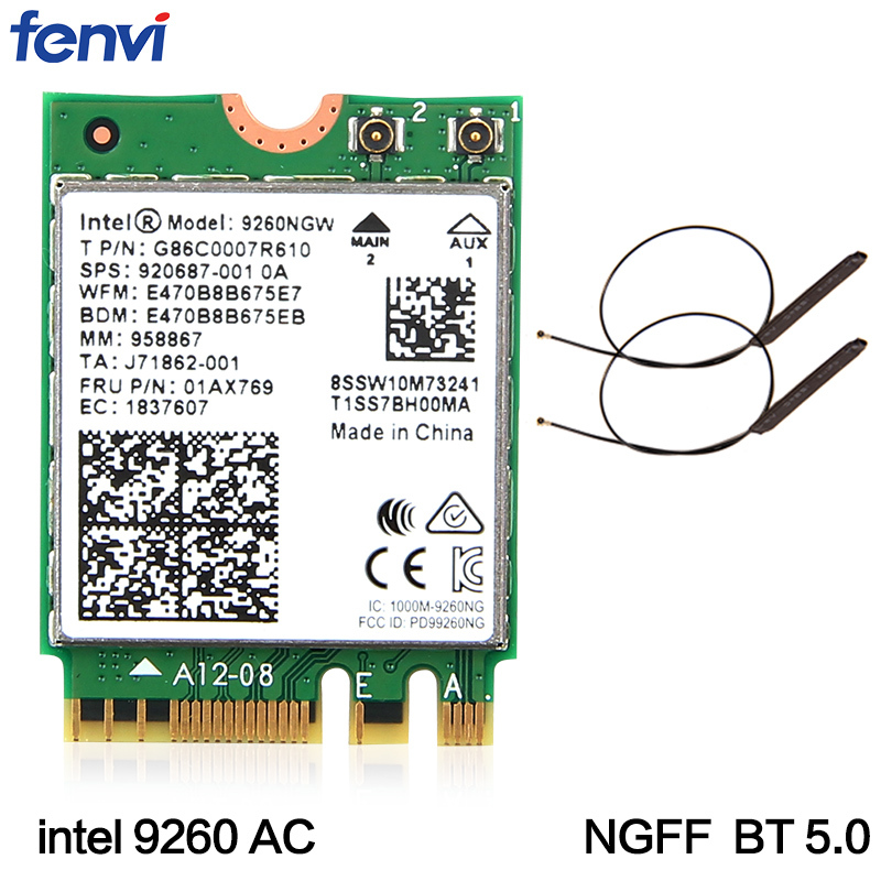 Dual Band Wireless-AC 9260 For Intel 9260NGW NGFF 802.11ac MU-MIMO 1730Mbps 1.73Gbps WiFi + Bluetooth 5.0 Card Fit Windows 10 brand new for intel 7265ngw bn wireless n 7265 ngff wireless wifi card laptop network wlan adapter fru 04x6032 for ibm lenovo
