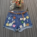 Summer 2017 high waist girls casual beading shorts Sexy blue denim shorts Vintage jeans girl hot shorts s293
