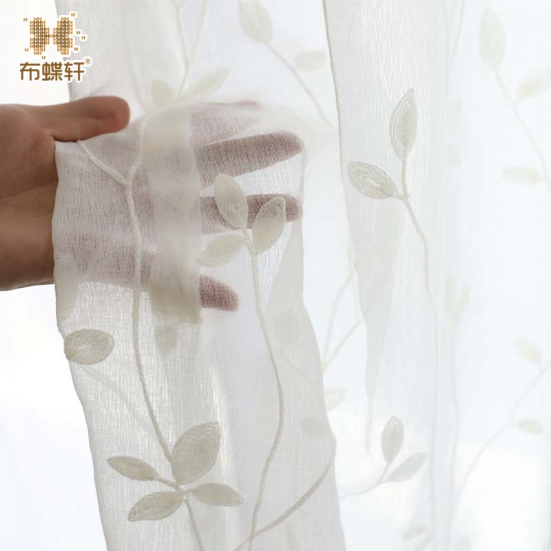 2018 Nordic Style Whie Embroidered Tulle Curtains for Living Room Soft Grey Voile Solid Rural Tulle Curtain for Home