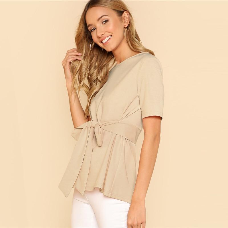 Sheinside Self Belt Keyhole Back Blouse Solid Short Sleeve Top 18 Summer Women Office Ladies Work Elegant Blouse 21
