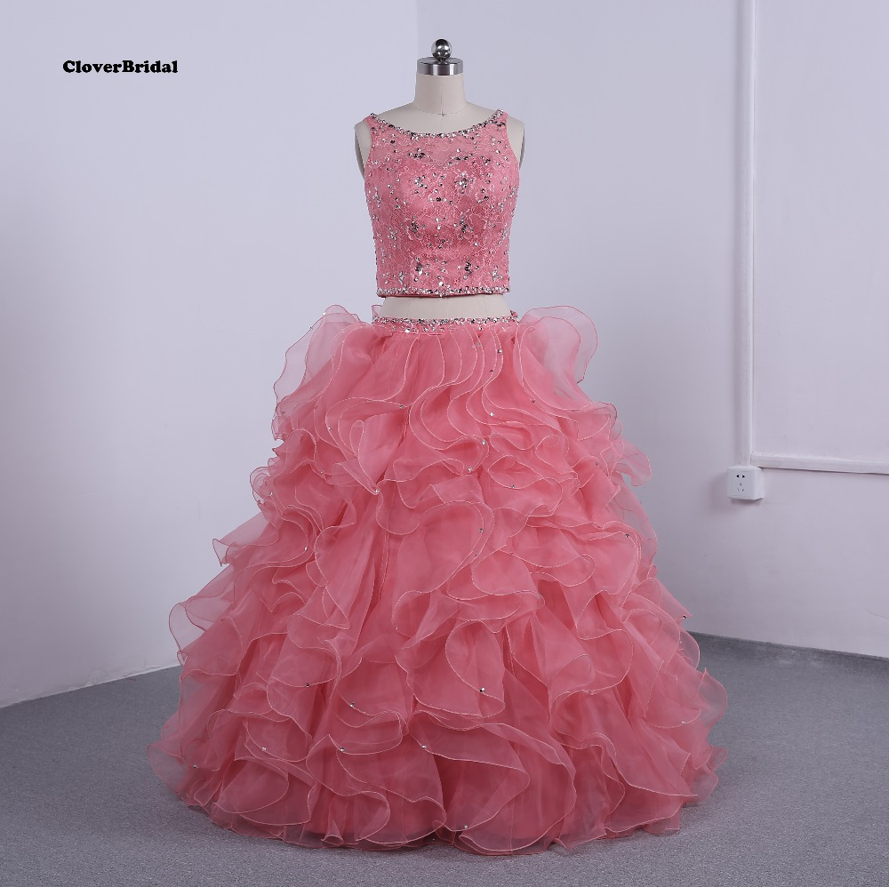 Cheap tulle and lace 2 pieces puffy 2015 coral quinceanera dresses ball gowns ruffled beaded with