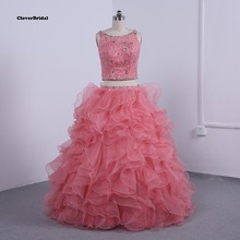 Cheap tulle and lace 2 items puffy 2015 coral quinceanera attire ball robes ruffled beaded with scarf mild champagne coloration