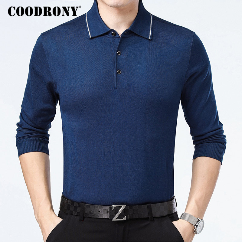 COODRONY Sweater Men 2018 Autumn Winter Knitwear Shirt Business Casual Turn-down Collar Pull Homme Soft Cotton Pullover Men B010
