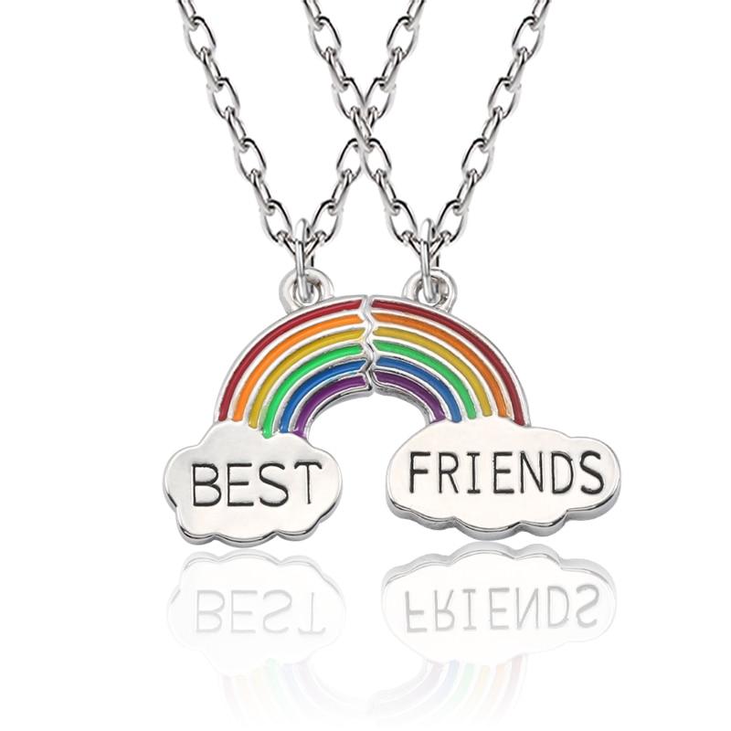 2 Piece Enamel Rainbow Cloud Pendant Necklace Best Friend Necklace