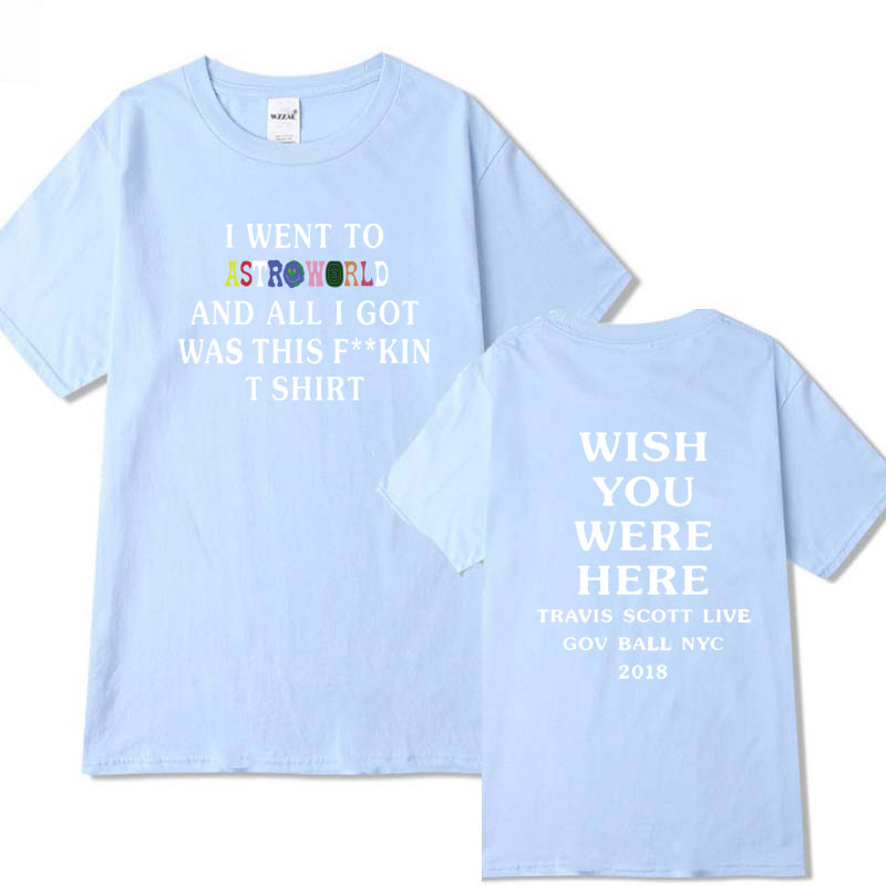 a114a8ce159e Streetwear Travis Scott Astroworld GOV BALL NYC 2018 T shirt Mens and Womens  Cotton Letter Shirt camisetas hombre T shirts -in T-Shirts from Men's  Clothing ...