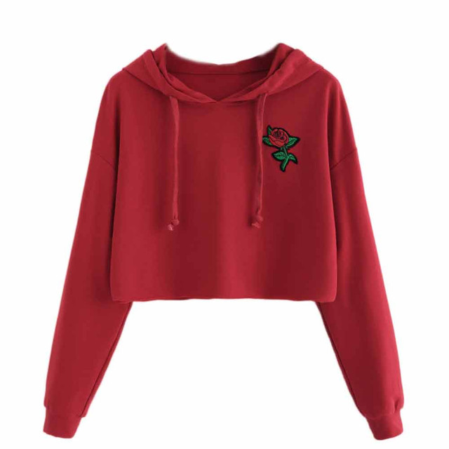 bf20f61b67 New Design Cute Women Hoodie Sweatshirt Girls Jumper Crop Top Ladies  Embroidery Pullover Long Sleeve Tops