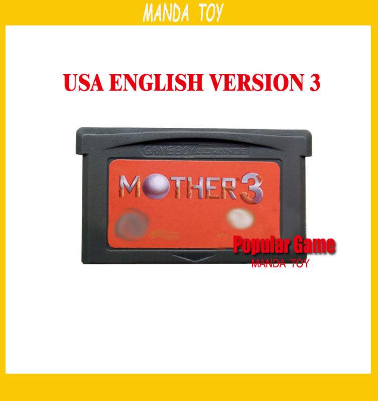 100pcs/lot Red ! Mother 3 V1.2 USA English Version Chip Save 32 Bit Game Card
