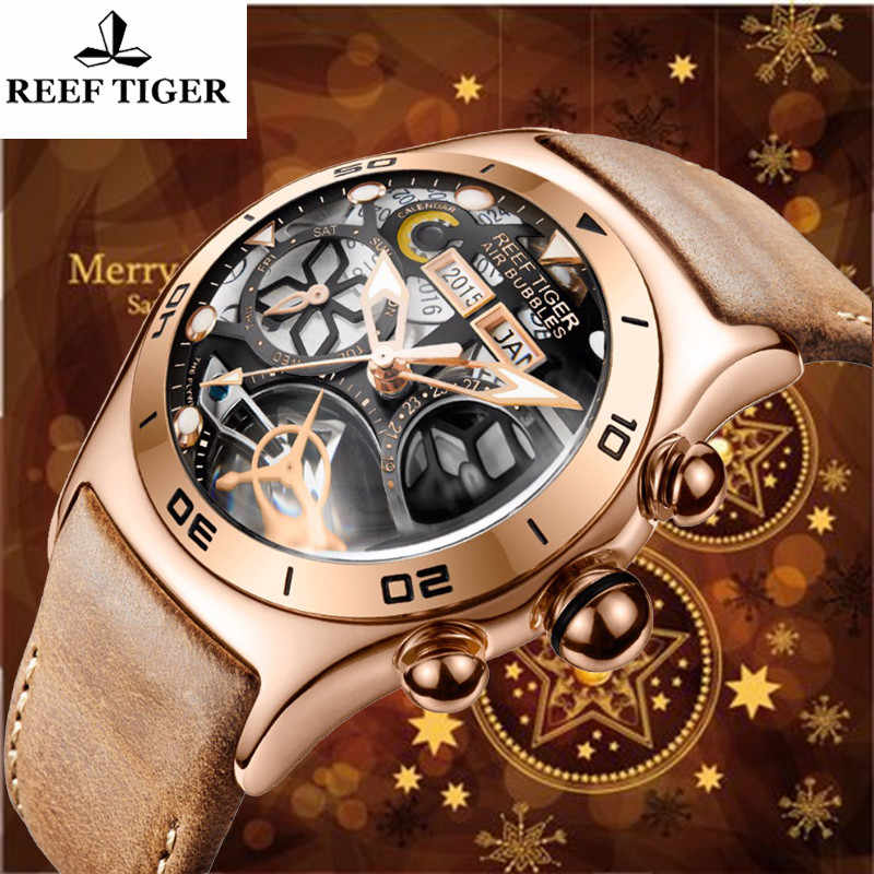 Reef Tiger Multifunction Watch Leather Sport Chronograph Top Luxury Brand Mechanical Waterproof Automatic Watches Mens Watches