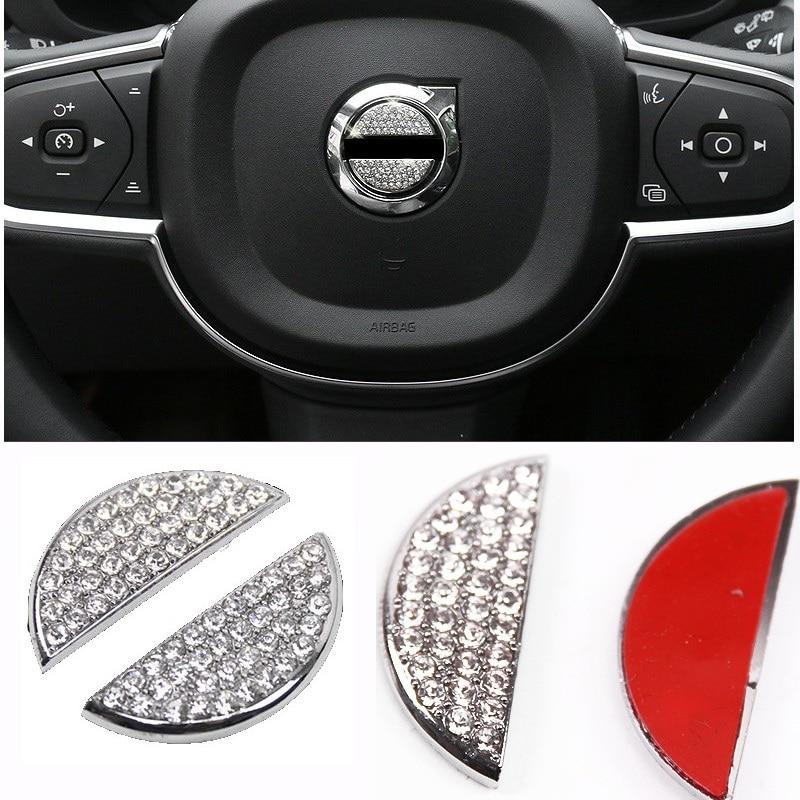 Pour Volvo XC60 S90 XC90 v90 2018-2019 métal + strass volant centre garniture décoration autocollant 2 ps voiture style accessoires