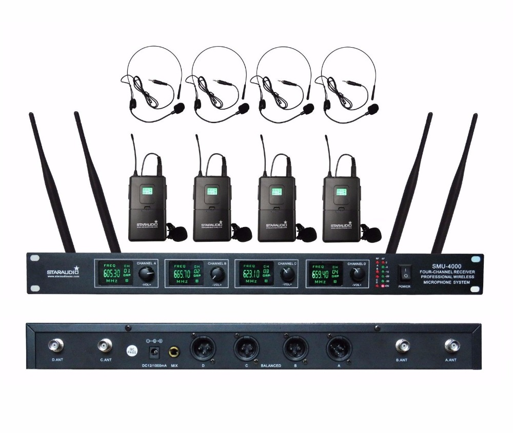 цена на STARAUDIO SMU-4000B 4 Channel UHF Wireless Microphone System W/4 Lavalier Headset Microphones for Stage Church Conference