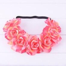 CXADDITIONS Simulation Rose Flower Hair Band Bride Headband Wedding Party Head Crown Princess Floral Wreath Headpiece Beach