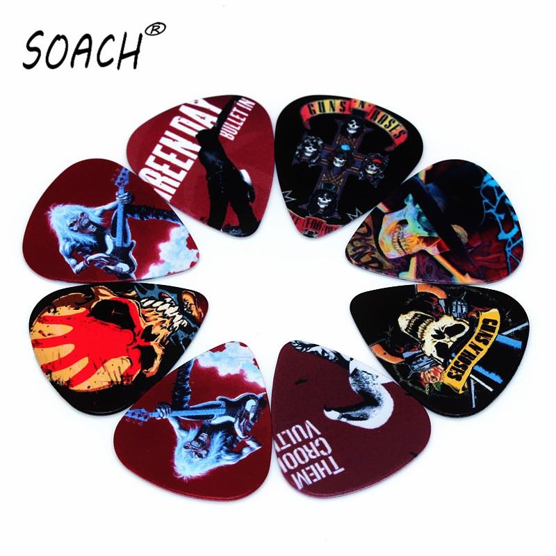 SOACH 10PCS 1.0mm High Quality Guitar Picks Two Side Pick Band Mix Picks Earrings DIY Mix Picks Guitar