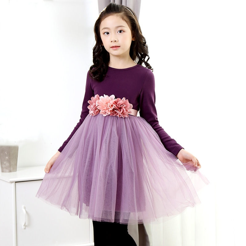 3-13Y New Autumn Girls dress Girl Lace Kids flower dress long sleeve party princess dresses Purple Red Pink girls short in front long in back purple flower girl dress summer 2017 girl formal dress kids party princess custume skd014283