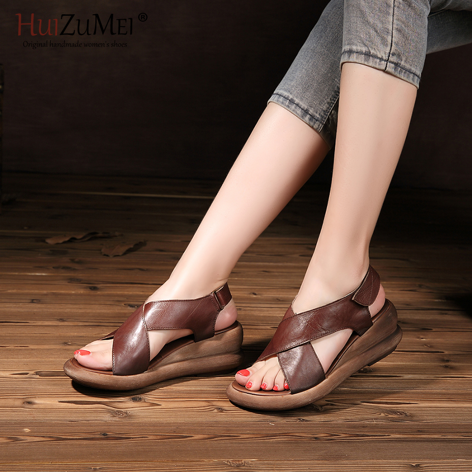 HUIZUMEI Fashion Shoes Women Genuine Leather Hand-made Sandal Summer New Wedges Retro And Stylish Shoes Slip-proof For Women