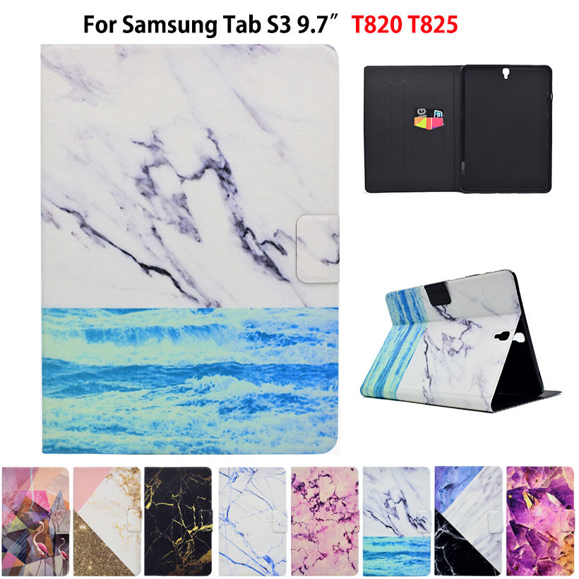 Marble Pattern Case For Samsung Galaxy Tab S3 9.7 T820 T825 Smart Cover Funda Tablet PU Leather Stand Skin Shell Sleep&Wake ultra thin smart pu leather cover funda case for samsung galaxy tab s2 t710 t713 t715 t719 8 0 tablet screen protector pen